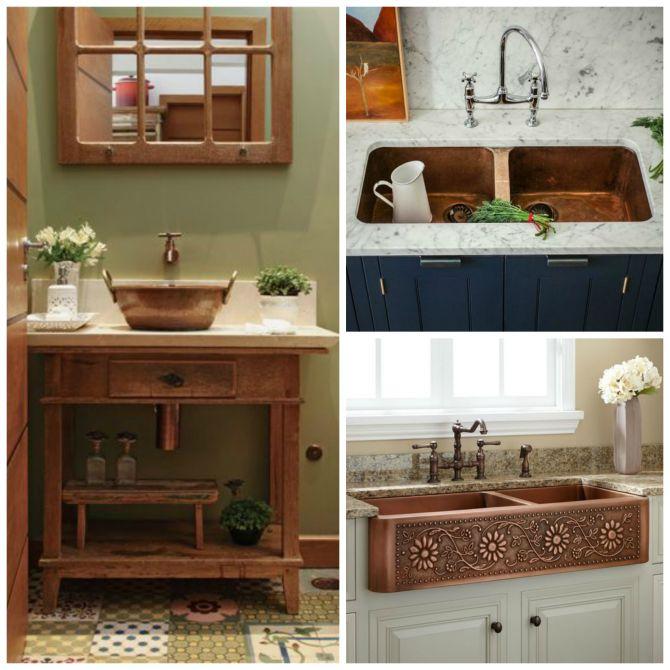 Cuba para banheiro e cozinha de cobre
