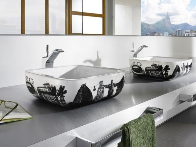 Cuba para banheiro desenhada