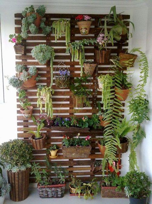 Painéis de madeira são ótimos para jardins de inverno vertical