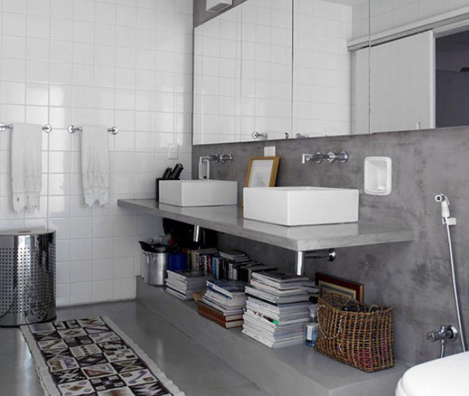 balcão da pia do banheiro de cimento