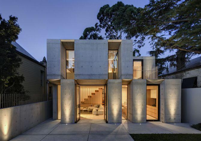 O concreto aparente pode ser usado para a fachada da casa