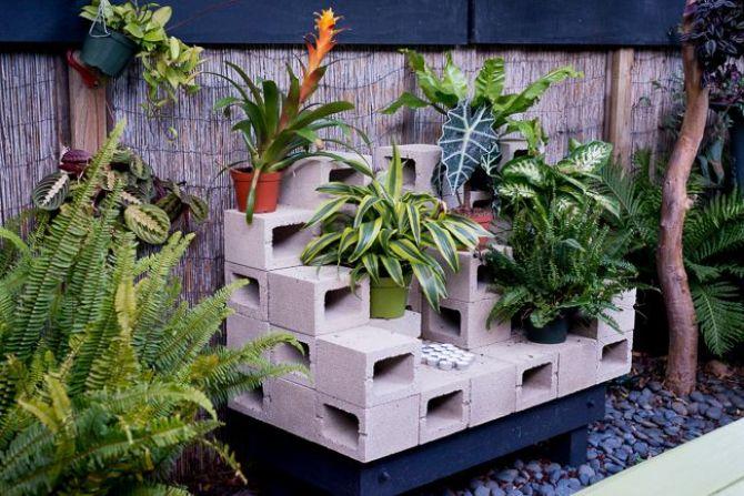 o bloco de concreto é uma opção diferente para o jardim