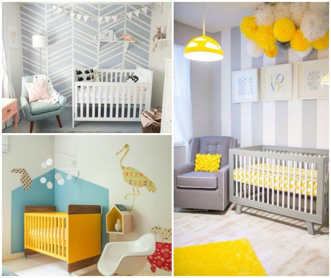Modelos de papel de parede em quarto para bebe